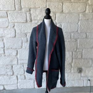 FORENZA Gray & Red Open Front Cardigan / Size XL